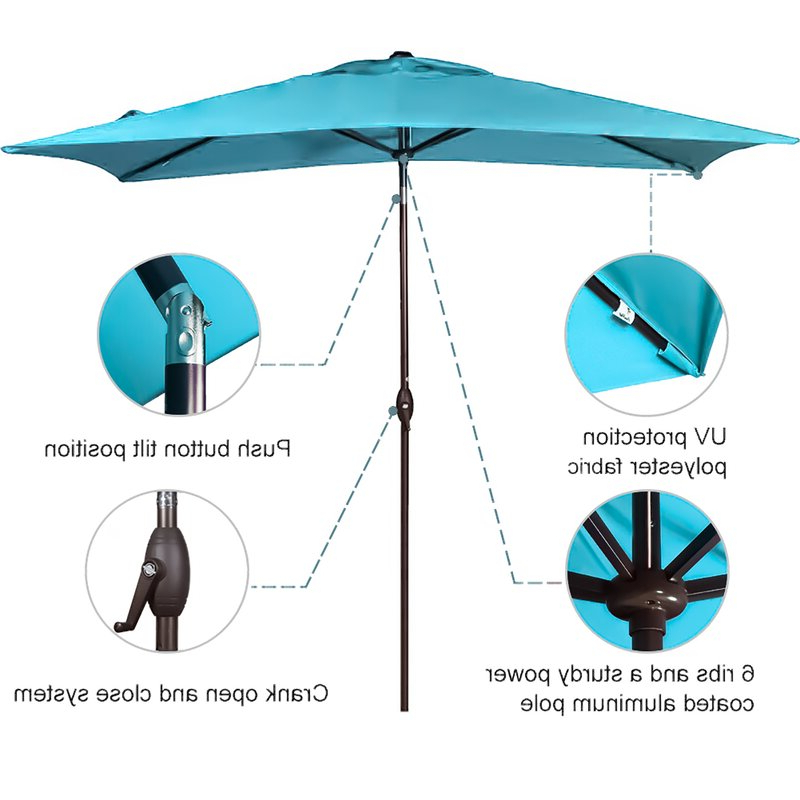 Most Current Fordbridge Rectangular Market Umbrellas Regarding Fordbridge 7' X 10' Rectangular Market Umbrella (View 5 of 25)