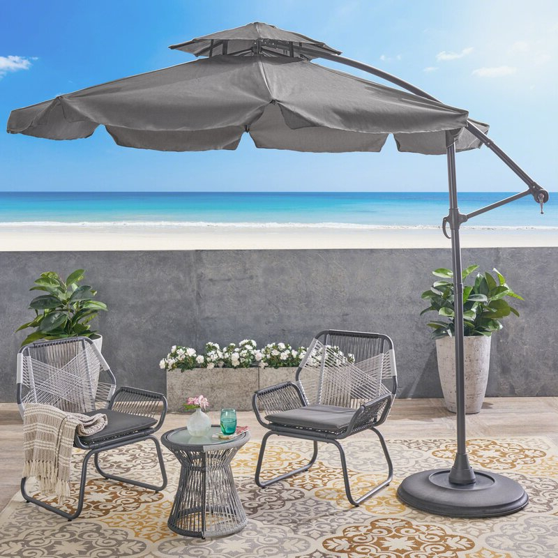 Most Popular Elaina Cantilever Umbrellas Pertaining To 10' Waverly Cantilever Umbrella (View 17 of 25)