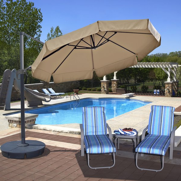 Most Popular Emely 11' Cantilever Sunbrella Umbrella Inside Ceylon Cantilever Sunbrella Umbrellas (View 18 of 25)