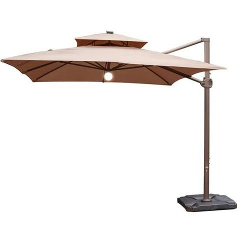 Most Popular Fazeley  Rectangular Cantilever Umbrellas Throughout Geneva 9Ft Square Patio Canopy Umbrella With Stand – Mocha (View 18 of 25)