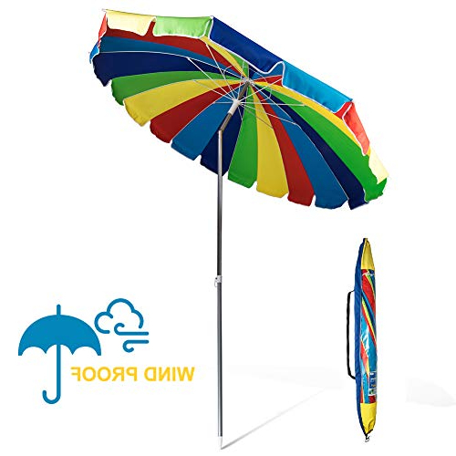 Most Popular Featherste Market Umbrellas Intended For 690Grand Giant Heavy Duty 8Ft Rainbow Beach Umbrella With Crank Tilt And  Carry Bag 20 Panels Sturdy Polyester Canopy For Patio Camping Upf50+ (View 17 of 25)