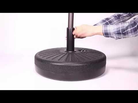 Most Popular How To Install Grand Patio Umbrella Base Gp Um Base 001 Regarding Monty Half Market Umbrellas (View 16 of 25)