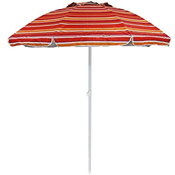 Most Popular Kerner Steel Beach Umbrellas Regarding Amazon : Sunnydaze 5 Foot Outdoor Beach Umbrella With Tilt (View 20 of 25)