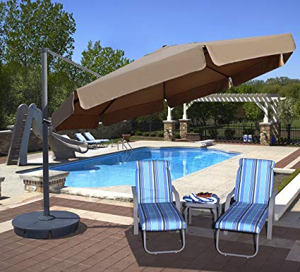 Most Popular Lennie Cantilever Sunbrella Umbrellas Pertaining To Island Umbrella Nu6785 Victoria Octagon Cantilever With Valance In Sunbrella Acrylic, 13', Stone (View 6 of 25)