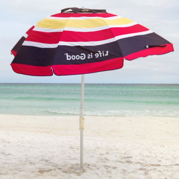 Most Popular Margaritaville Green And Blue Striped Beach With Built In Sand Anchor Umbrellas Pertaining To Beach Umbrella For Sand (View 17 of 25)