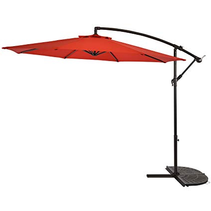 Most Popular Sun Ray 10' Offset Cantilever Patio Umbrella Outdoor Market Hanging  Umbrella, Crank With Cross Base, 8 Ribs Solar Umbrella, Red, Scarlet Regarding Sun Ray Solar Cantilever Umbrellas (View 6 of 25)