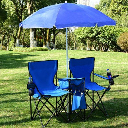 Most Recent Costway Portable Folding Picnic Double Chair W/umbrella Table Cooler Pertaining To Zadie Twin Rectangular Market Umbrellas (View 11 of 25)