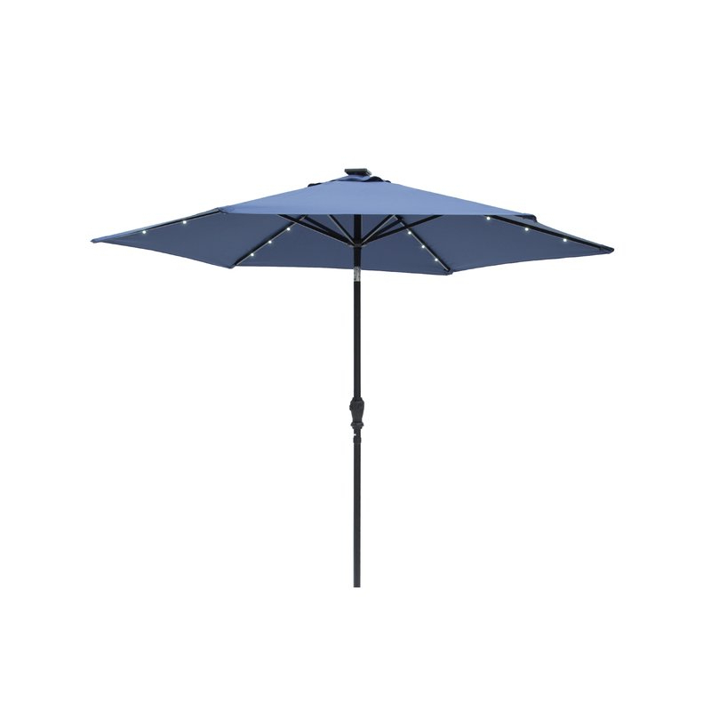 Most Recent Herlinda Solar Lighted Market Umbrellas Regarding Herlinda Solar Lighted 9' Market Umbrella (View 2 of 25)