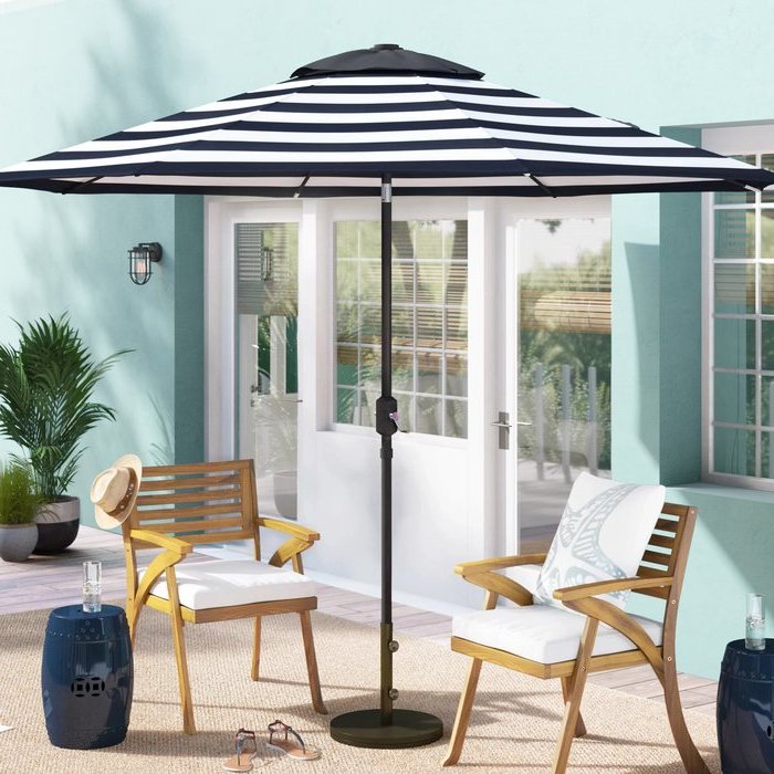 Most Recent Jaida Stripe Crank And Tilt 9' Market Umbrella Intended For Darwen Tiltable Patio Stripe Market Umbrellas (View 11 of 25)