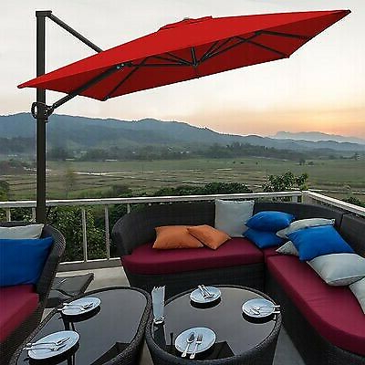 Most Recently Released Farnham Cantilever (Led) Solar Light Umbrella Red Retail Is $500 Within Farnham Cantilever Umbrellas (View 14 of 25)