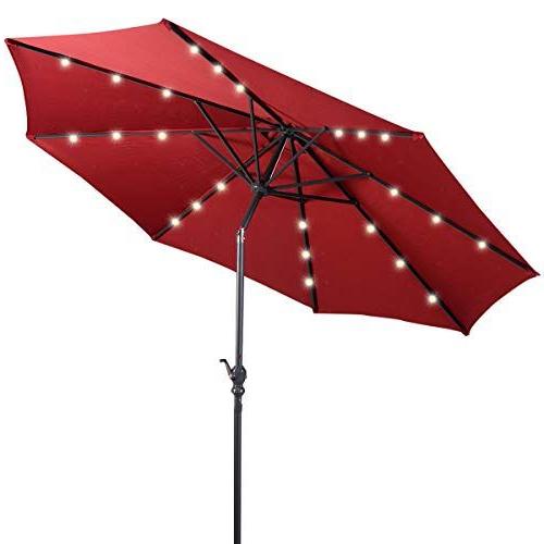Most Recently Released Giantex 10Ft Solar Patio Umbrella Sunbrella With Led Lighted, 8 Ribs Regarding Wiebe Market Sunbrella Umbrellas (View 23 of 25)