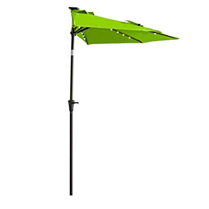 Most Recently Released Half Round Market Umbrellas For Flame&shade 9 Foot Solar Power Led Lighted Half Round Outdoor Patio (View 17 of 25)