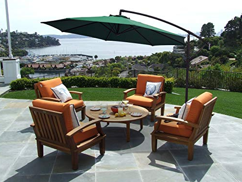 Most Recently Released Kizzie Market Cantilever Umbrellas Pertaining To Kingyes 10Ft Patio Offset Cantilever Umbrella Market Umbrellas Outdoor  Umbrella With Crank & Cross Base For Garden, Deck,backyard And Pool(Dark  Green) (View 18 of 25)