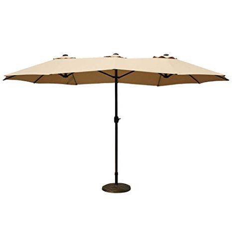 Most Recently Released Le Papillon 15 Ft Market Outdoor Umbrella Double Sided Aluminum Table Patio Umbrella With Crank, Beige With Regard To Lagasse Market Umbrellas (View 13 of 25)