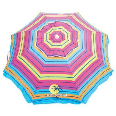Most Recently Released Margaritaville Green And Blue Striped Beach With Built In Sand Anchor Umbrellas Pertaining To Manual Tilt – Beach Umbrellas – Patio Umbrellas – The Home Depot (View 18 of 25)