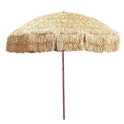 Most Up To Date 8' Hula Umbrella Thatched Tiki Patio Umbrella Natural Color 8 Foot Diameter Tropical Look Aluminum Pole 16 Fiberglass Ribs Throughout Tropical Patio Umbrellas (View 18 of 25)