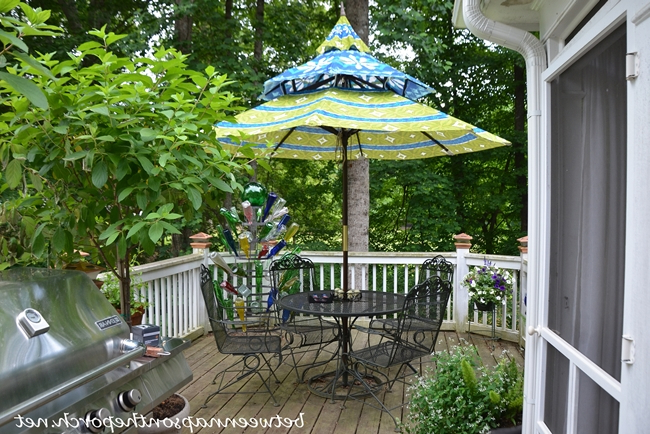 """Most Up To Date Hettie Solar Lighted Market Umbrellas Inside Deck """"Before And After"""" With """"Lodge Brown"""" Solid Stain For The Deck (View 24 of 25)"""