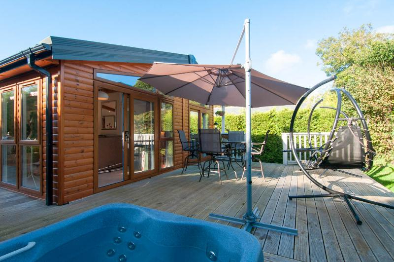 Most Up To Date Lavender Leap Updated 2019: 2 Bedroom Cabin In Swanage With Balcony Pertaining To Cockermouth Rotating Cantilever Umbrellas (View 20 of 25)