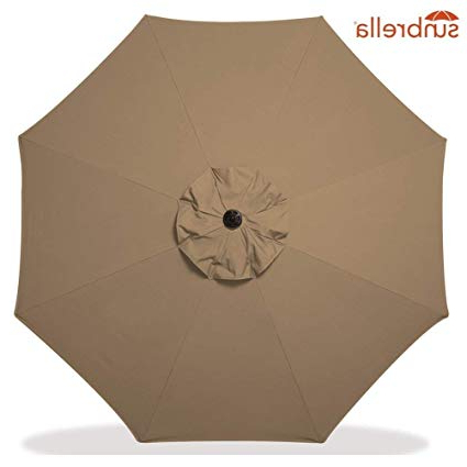 Most Up To Date Sunbrella Fabric Replacement Umbrella Canopy For 9Ft 8 Ribs Outdoor Patio  Umbrella Vented Canopy Sunbrella Sesame (Sunbrella Canopy Only, Sesame) Intended For Crowland Market Sunbrella Umbrellas (View 24 of 25)