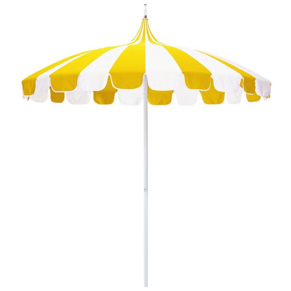 Natural And Sunflower Yellow Fabric California Umbrella Smpt 852 Regarding Favorite Wallach Market Sunbrella Umbrellas (View 11 of 25)