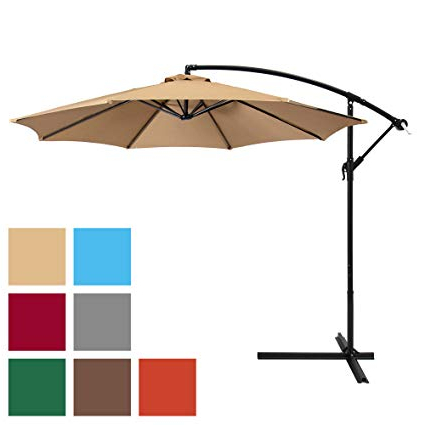 New Haven Market Umbrellas inside Most Recently Released Best Choice Products 10Ft Offset Hanging Market Patio Umbrella W/ Easy Tilt  Adjustment, Polyester Shade, 8 Ribs For Backyard, Poolside, Lawn And