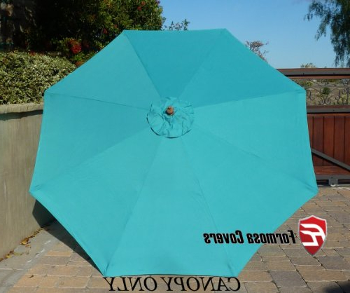 Newest 9Ft Umbrella Replacement Canopy 8 Ribs In Turquoise Olefin (Canopy with Alexander Elastic Rectangular Market Sunbrella Umbrellas
