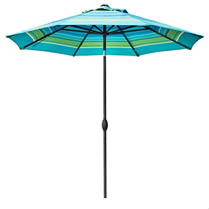 Newest Abba Patio Striped Patio Umbrella 9-Feet Outdoor Market Table Umbrella With  Auto Tilt And Crank, Turquoise Striped for Fleetwood Market Umbrellas