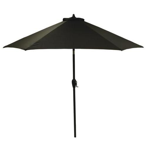 Newest Backyard Creations™ 9' Raven Black Solid Patio Market Umbrella Within Solid Market Umbrellas (View 17 of 25)