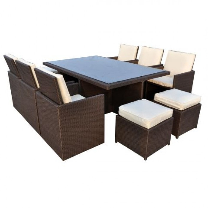 Newest Bostic Cantilever Umbrellas throughout Royalcraft 6/10-Seater Cannes Mocha Brown Rattan Cube Set