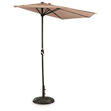Newest Colburn Half Market Umbrellas Regarding Castlecreek 8' Half Round Patio Umbrella, Khaki (View 9 of 25)