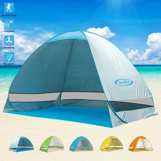 Newest G4Free Large Pop Up Beach Tent Automatic Sun Shelter Outdoor Cabana Sun  Umbrella Pertaining To Sun Shelter Beach Umbrellas (View 17 of 25)
