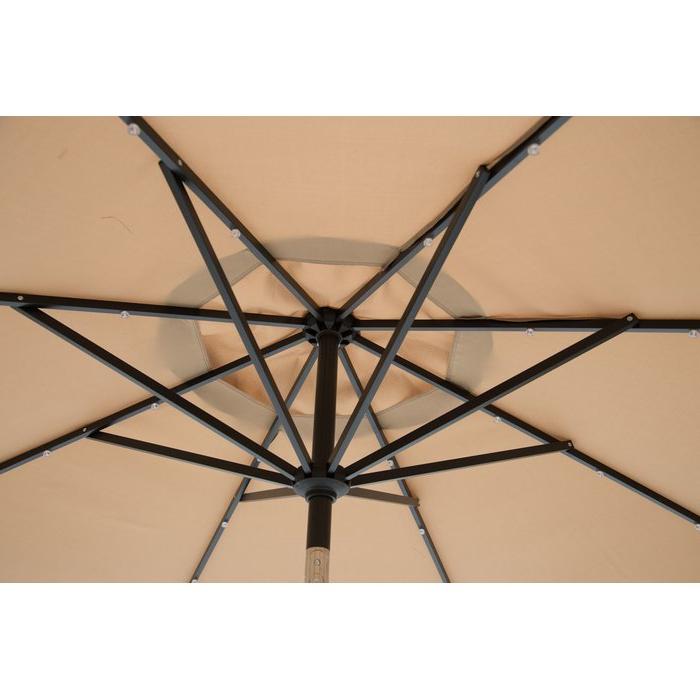 Newest Griselda Solar Lighted  Rectangular Market Umbrellas inside Griselda Solar Lighted 9' X 7' Rectangular Market Umbrella