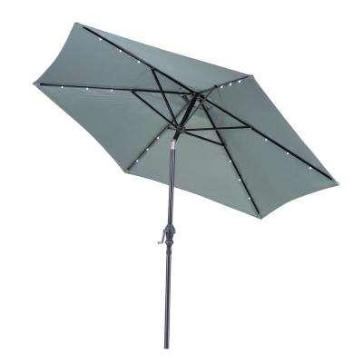 Newest Griselda Solar Lighted  Rectangular Market Umbrellas within 9 Ft. Round Solar Lighted Market Patio Umbrella In Grey