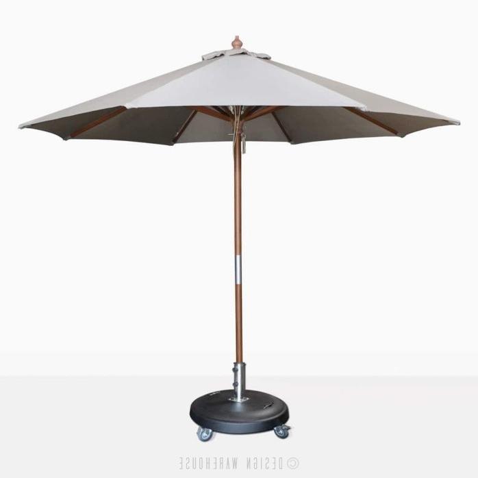 Newest Market Umbrellas pertaining to Dixon Market Olefin Round Umbrella (Grey)