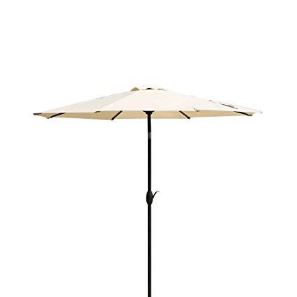 Newest Masvis 9 Ft Aluminum Patio Umbrella Outdoor Table Market Umbrellas With  Push Button Tilt And Crank, Safety Bolt,8 Aluminum Ribs (9 Ft, Beige) with Market Umbrellas