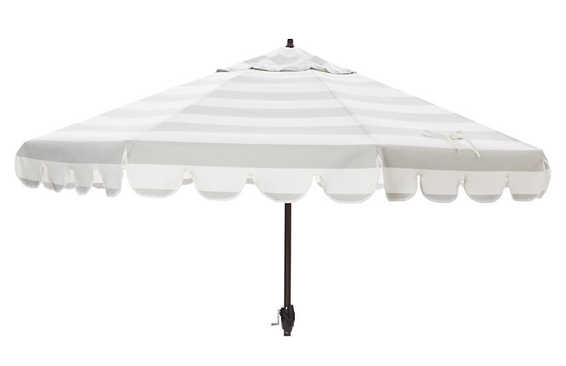 Newest Phoebe Scallop Edge Patio Umbrella, Gray/white (View 19 of 25)