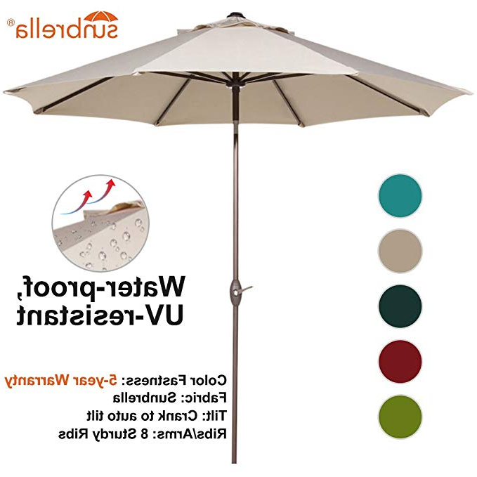 Newest Wiechmann Market Sunbrella Umbrellas Inside Abba Patio Sunbrella Patio 9 Feet Outdoor Market Table Umbrella With Auto  Tilt And Crank, Canvas Antique Beige (View 14 of 25)