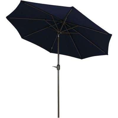Newest Wiechmann Market Sunbrella Umbrellas with regard to 9 Ft. Aluminum Market Auto Tilt Patio Umbrella In Sunbrella Navy Blue