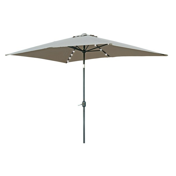 Norah Rectangular Market Umbrellas regarding Most Up-to-Date Destefano 10' X 6.5' Rectangular Lighted Umbrella