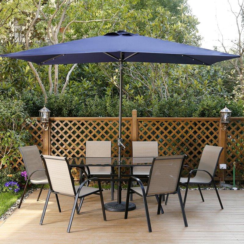 Northfleet Rectangular Market Umbrellas pertaining to Latest Harworth 10' X 6.5' Rectangular Market Umbrella