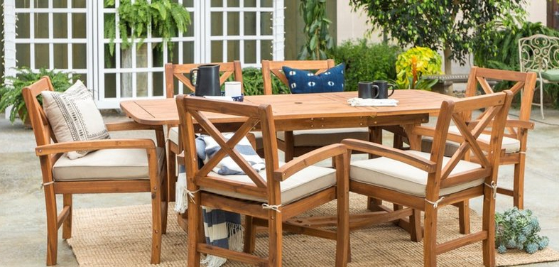 Outdoor Dining Sets With Free Shipping Throughout 2018 Desmond  Rectangular Cantilever Umbrellas (View 19 of 25)