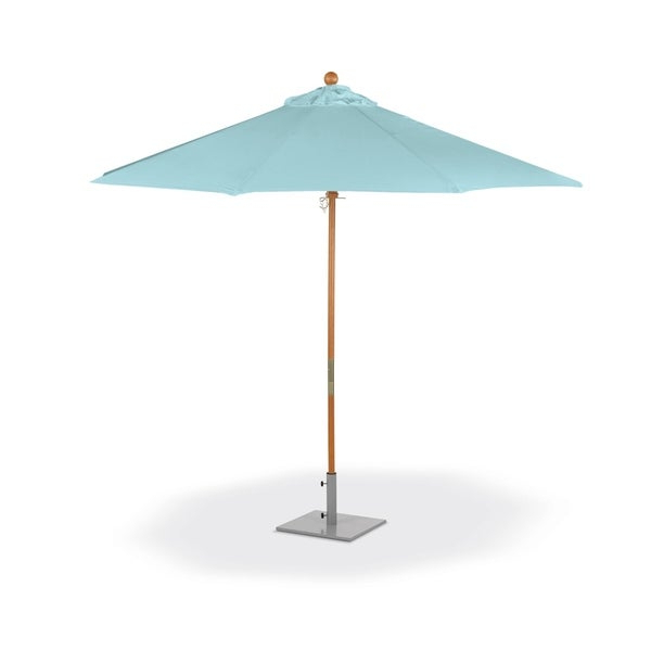 Oxford Garden 9 Feet Octagon Mineral Blue Sunbrella Fabric Shade Market Umbrella With Solid Tropical Hardwood Frame With Regard To Well Liked Market Umbrellas (View 12 of 25)