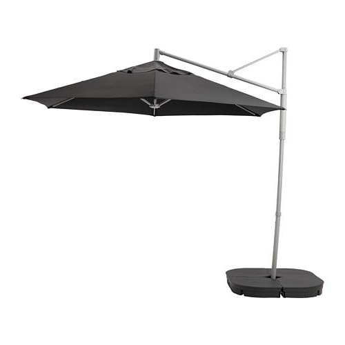 Oxnö / Lindöja Hanging Umbrella With Base, Black, Svartö Dark Gray For Newest Booneville Cantilever Umbrellas (View 12 of 25)