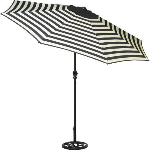 Patio Umbrella 9 Foot Round Steel Market Tilt Black And White Table With Well Liked Hatten Market Umbrellas (View 7 of 25)
