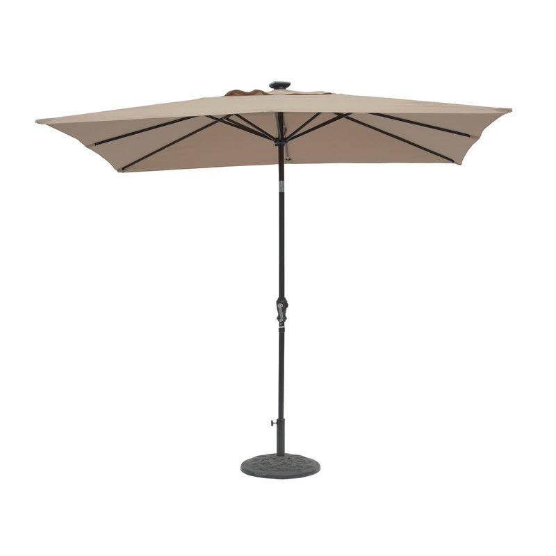 Pau Rectangular Market Umbrellas Intended For 2018 Kamila 9' X 7' Rectangular Lighted Umbrella (View 13 of 25)