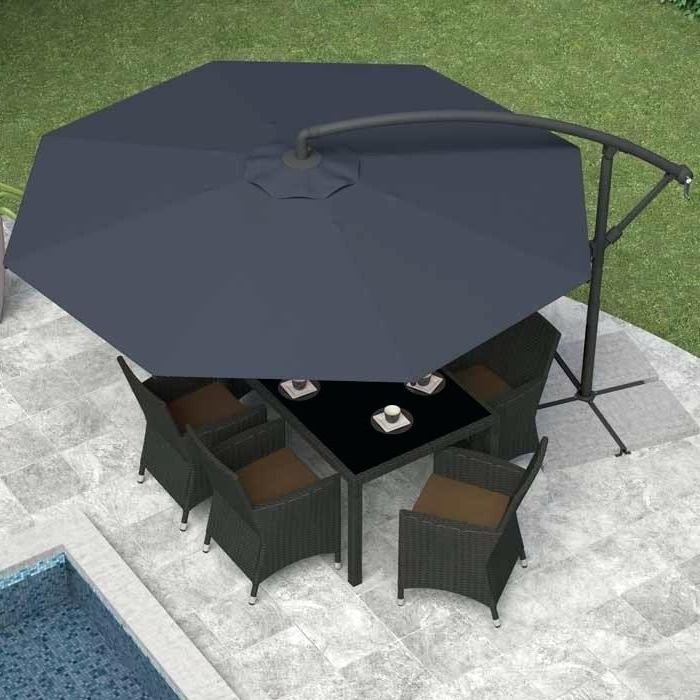 Phat Tommy Cantilever Umbrellas Pertaining To Most Popular S Black Patio Umbrella Outdoor Market With Push Button Tilt Crank (View 14 of 25)