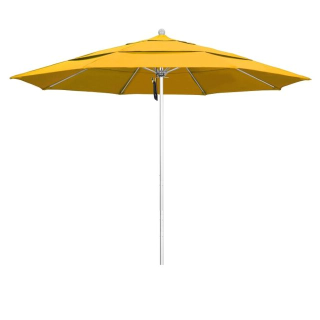 Phat Tommy Cantilever Umbrellas Regarding Latest Phat Tommy 11 Ft Silver Anodized Commercial Patio Market Umbrella Shade Yellow (View 9 of 25)