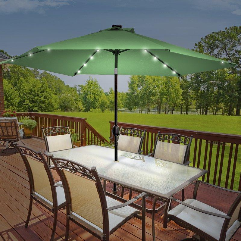 Popular Branam Lighted Umbrellas With Rahate Solar Led Outdoor 10' Market Umbrella (View 11 of 25)