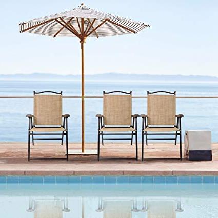 Popular Brubaker Market Umbrellas Regarding Devoko Patio Folding Chair Deck Sling Back Chair Camping Garden Pool Beach Using Chairs Space Saving Set Of 2 (Beige) (View 10 of 25)