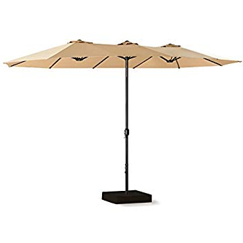 Preferred Amazon : Le Papillon 15 Ft Market Outdoor Umbrella Double Sided Intended For Lagasse Market Umbrellas (View 9 of 25)